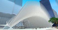 Santiago Calatrava - World Trade Center Transportation Hub, New York Futuristic Architecture, Beautiful Architecture, Beautiful Buildings, Architecture Design, Santiago Calatrava, Shade Structure, Images Google, Pergola Plans, World Trade Center