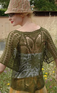 Ravelry: BR-10223 Flowery see-through V-neck pattern by RichMore Design (リッチモア企画)
