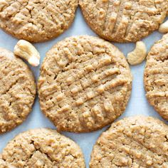 Just 4 ingredients for the BEST soft & buttery Flourless & Paleo Cashew Butter Cookies! Quick & easy, made from healthy ingredients. Healthy Snack Bars, Vegan Snacks, Vegan Desserts, Paleo Vegan, Diabetic Desserts, Healthy Breakfasts, Vegan Foods, Diabetic Recipes, Eating Healthy