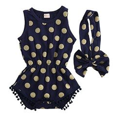1bb53e5a6 Baby Girl Clothes Gold Dots Bodysuit Romper Jumpsuit One-pieces Outfits Set  | Easy Buy