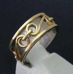 14k Gold / Palladium Chain Link Band Ring