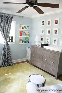 love the soft (but slightly masculine) colors for a boy's nursery.