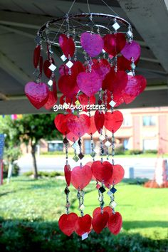 Red Heart Capiz Shell Windchimes  Red Heart Capiz Chimes