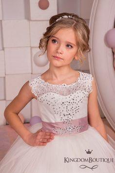 Ivory Flower Girl Dress  Junior Bridesmaid Holiday Birthday