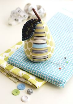 Stripes and Dots Pear Pincushion