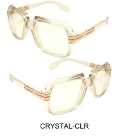 3b80e0953a50 Clear frame Clear Lens Cazal Gazelle Style Sun Glasses with Metal Accent  Run Dmc