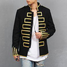 Men Fashion Military Design Gold Piping Embroidery Black Napoleon Blazer Jacket #Handmade #Military