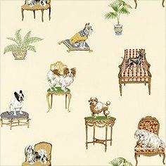 Thibaut Piccadilly - Fifi & Friends - Wallpaper - Off White   For ...