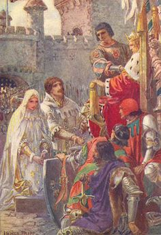 """Lancelot and Queen Guinevere Kneeling before  the Throne of King Arthur"" by Innes Fripp"