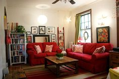 I love this room and that so much of it is put together with some of this and some of that to make an adorable, inviting space.