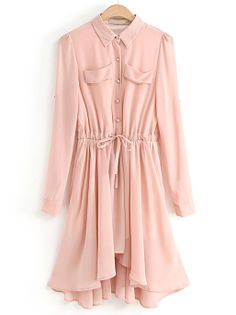 Pink Lapel Long Sleeve Pleated Chiffon Dress - Sheinside.com