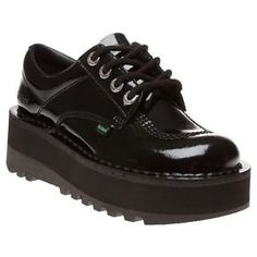 0b66fe1e5b8 New Womens Kickers Black Kick Lo Stack Patent Leather Shoes Platforms Lace  Up