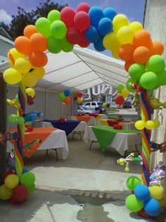 Laura, we can do balloon archway and cover tables in the colors. Backyard Birthday Parties, Baby Boy 1st Birthday Party, Colorful Birthday Party, 1st Boy Birthday, Birthday Ideas, Monster Party, Monster Birthday Parties, Elmo Party, Cookie Monster