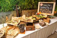 taco bar from Party Frosting: Mexican Fiesta Party Ideas and Inspiration! - family reunion and large group meal Wedding Food Bars, Wedding Reception Food, Taco Bar Wedding, Wedding Ideas, Wedding Receptions, Party Wedding, Rustic Wedding, Fingers Food, Mexican Fiesta Party