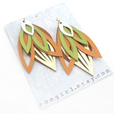 Peach, Lime and Gold Leather Earrings (five layers, handcut) by Taryn McCabe at Tomgirl on Etsy