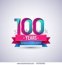 100 years anniversary logo, blue and red colored vector design.