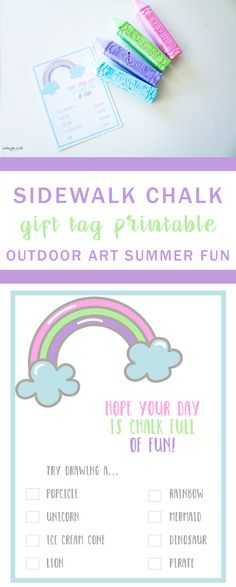 Outdoor Art Sidewalk Chalk Printable Gift Tag | A fun summer gift | End of school gift