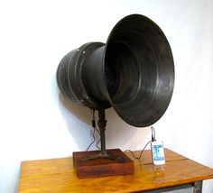 WWII Air Raid Siren Speaker retro-fitted for stereo, computer, I-tunes or I-pod. Anything that can use a headphone jack can be used with this speaker. Requires access to one standard wall plug for the powered amp.