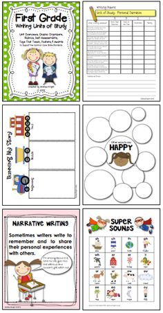 """First Grade Writing Units of Study"" ... 164 pages of lesson topics, rubrics, self-assessments, student notebook resources, paper templates, teaching posters, graphic organizers, and awards.  LINK to item:  http://www.teacherspayteachers.com/Product/First-Grade-Writing-Units-of-Study-Supports-the-Common-Core-251036   ($)"