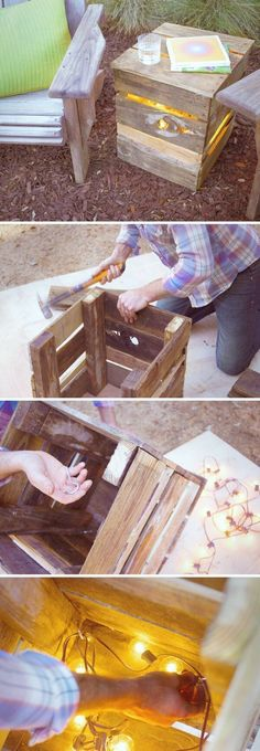 DIY Outdoor Pallet Light Boxes Image Source Repurpose a pallet to produce a unique light box and add warmth to your backyard oasis. Low Deck, Unique Lighting, Outdoor Lighting, Lighting Ideas, Canning Jar Lights, Pallet Light, Solar Powered Garden Lights, Basket Lighting, Recycled Wine Bottles