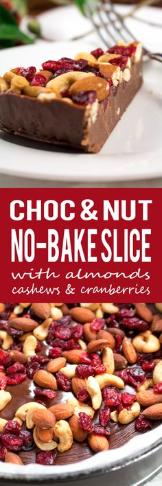 Chocolate, Cranberry, Almond and Cashew No-Bake Slice - A smooth, rich chocolate velvety base that melts in your mouth! This stress free no-bake slice is gluten-free too!!
