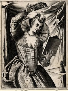 Giacomo Franco (1550 - 1620), printmaker  Object name:print  An elegantly dressed Venetian woman, examining her coiffure with the aid of two mirrors  Series title: Habiti delle Donne Veneziane nuovamente intagliate in rame da Giacomo Veneziano  engraving, c. 1610