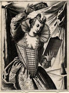 Giacomo Franco (1550 - 1620), printmaker  Object name:print  An elegantly dressed Venetian woman, examining her coiffure with the aid of two mirrors  Series title: Habiti delle Donne Veneziane nuovamente intagliate in rame da Giacomo Veneziano  engraving, c. 1610