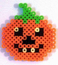 BEAD MAGNET - Halloween or Thanksgiving Pumpkin - Handmade - Orange - Black - Green - Yellow. $4.00, via Etsy.