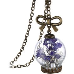 Kent's Jewelry INC. Glass Orb Pendant W/ Real Dried Flowers in 14K... (18 AUD) ❤ liked on Polyvore featuring jewelry, pendants, jewelry & watches, necklaces, purple, charm pendant, pendant jewelry, flower jewelry, purple jewelry and 14k jewelry
