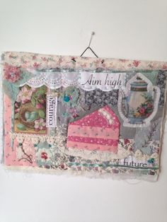 Art quilt, fiber art, mini quilt, collage, textile art, quilt, fabric assembly, embroidery, vintage fabric, fabric art