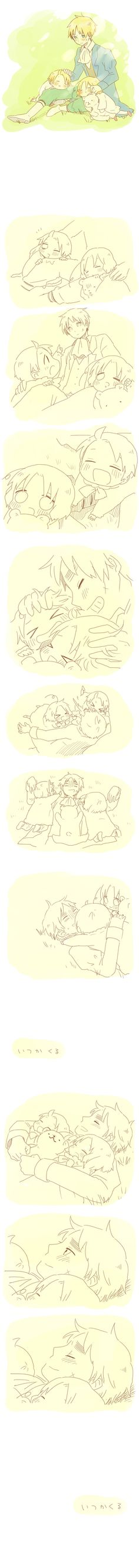 Arthur with little Alfred and Matthew - and...he just got glomped. So cute! - Artist unknown