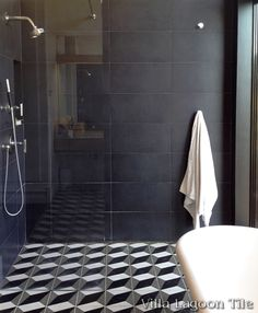 Large Cubes cement tile bathroom floor and shower installation, from Villa Lagoon Tile. Cement Tiles Bathroom, Bathroom Flooring, Wall Tile, White Bathroom, Bathroom Interior, Gray Bathrooms, Bathroom Design Tool, Bathroom Designs, Bathroom Ideas