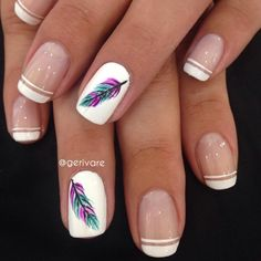 - Air Tutorial and Ideas Feather Nail Designs, Feather Nails, Nail Swag, Fabulous Nails, Perfect Nails, French Nails, Aztec Nails, Aztec Nail Art, Chevron Nails