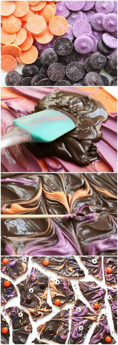 Use multiple colors of melting chocolate to make this spooky DIY Halloween candy bark! Kids love to get involved too. This easy recipe is so fun and so tasty! via (Favorite Candy Kids) Chocolate Caramel Cookies, Chocolate Bark, Melting Chocolate, Galaxy Chocolate, Chocolate Color, Halloween Bark, Diy Halloween Food, Halloween Cookies, Spooky Food
