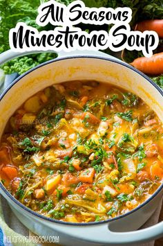 The BEST Italian Minestrone Soup. Learn secrets from Italian nonna to make the most delicious ALL SEASONS Minestrone Soup! #minestronerecipe #minestronesoup #winterminestrone #summerminestrone #italiansoup #thebestminestronesoup Italian Recipe Book, Italian Soup Recipes, Best Minestrone Soup Recipe, Cranberry Beans, Light Soups, Small Pasta, Turkey Soup, Pasta Shapes, Soups