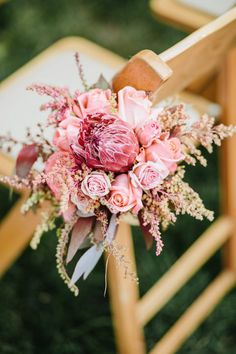 Pink Roses and Protea | Wedding Ceremony Decor from the Enchanted Florist, Belle Meade Plantation in Nashville, Streetlight Republic Photography