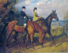 Sir Alfred Munnings || Going to the Meet: Captain F.G. Chamberlin and his sister,on Mousehold Heath, Norwich