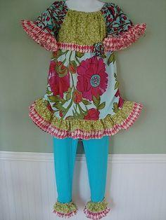Girl Funky Spring Summer Ruffle Boutique Custom by fabricfunetc, $44.99