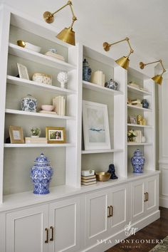 Built ins with lights. Sita Montgomery Interiors: My Home Office Makeover Reveal Home Office Design, House Design, Office Decor, Office Furniture, Office Ideas, Wood Furniture, Office Nook, Bedroom Office, Furniture Storage