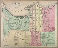 Old map of Hamilton Ontario Hamilton Ontario Canada, Hamilton Pictures, Hamilton Beach, The Province, Old Pictures, Travel Posters, Time Travel, Road Trip