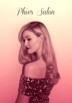 vintage glam hollywood pink tint long blonde hair waves curly