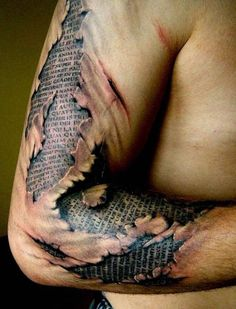 Mens Arm Ripped Skin Quote Tattoo Design Ideas