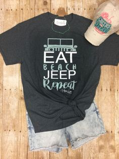Calling all JEEP lovers! Or wait, calling all BEACH JEEP lovers! And who doesn't love the beach and Jeeps! Check out this fun graphic tee to add to your Jeep Land Rovers, Jeep Truck, Jeep Jeep, Jeep Rubicon, Dream Cars, Jeep Clothing, Beach Jeep, Jeep Baby, Jeep Shirts