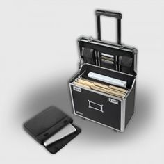 Highly mobile, with wheels and telescoping handle, this locking case is a safe and attractive place to store all your business supplies