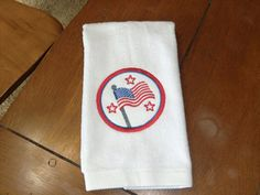 White Embroidered Finger Tip Towel   4th of July  Flag by teri3422