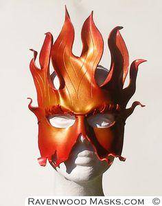 Amazing Fire Mask, and I do like their name! Mask Making Workshops with award winning mask designer Alyssa Ravenwood Leather Leaf, Leather Mask, Totems, How To Make Leather, Half Mask, Carnival Masks, Leaf Jewelry, African Masks, Masquerade Ball