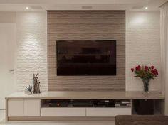 Resultado de imagem para sala de estar com papel de parede e painel