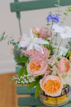 Flowers by Lace and Lilies -Vintage Whites Blog: Creative ways to display flowers using vintage goods!