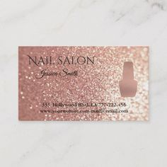 Shop Elegant chic rose gold glittery nail salon appointment card created by Makidzona. Home Nail Salon, Nail Salon Design, Nail Salon Decor, Gel Nails At Home, Salon Interior Design, Glittery Nails, Rose Gold Nails, Manicure Rose, Nail Logo