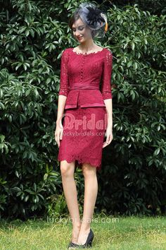 This burgundy short slim mother of the bride dress is suitable for most special occasions. This elegant style comes with vintage peplum design and lace overlay. Boat neck, half sleeves and ruched waistband complete this style! Dress Brukat, Kebaya Dress, Batik Dress, Lace Dress, Short Mothers Dress, Mothers Dresses, Farewell Dresses, Dress Clothes For Women, Lolita Dress